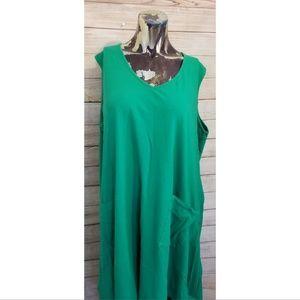 Asos Curve Green Sleeveless T-Shirt Dress